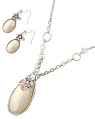"resell for 36.00 or more Antique Silver Tone / Lt.pink Synthetic Pearl / Lead&nickel Compliant / Metal / Fish Hook(earrings) / Pendant / Flower & Oval / Long Necklace & Earring Set /  •   LENGTH : 32"" •   PENDANT : 1 1/2"" X 3"" •   EARRING : 3/4"" X 2 1/2""	 •   SILVER/PINK  Style #LSTPPN051618"