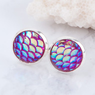 "resell for 9.00 or more Copper & Resin Mermaid Fish/ Dragon Scale Ear Post Stud Earrings Round Silver Plated Fuchsia AB Color W/ Stoppers 15mm( 5/8"") x 12mm( 4/8""), Post. Style #FME051718"