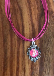 """Resell for 12.00 or more Hot pink organza necklace 17 inch plus ext Pewter w pink mermaid scales pendant 1 1/8"""" long Style # HPOMN051718"""