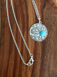 Resell for 15.00 or more 30 inch silver tone chain  Boho celestial pendant w turquoise magnesite 1 1/8 inch diameter Style #CBCN051718