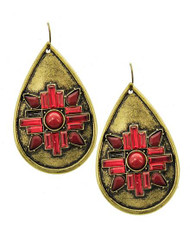 "resell for 9.00 or more Burnished Gold Tone / Red Acrylic / Lead Compliant / Metal / Teardrop Dangle / Fish Hook Earring Set /  •   WIDTH X LENGTH : 1 1/2"" X 2 5/8""  •   B.GOLD/RED Style #GRE051718"