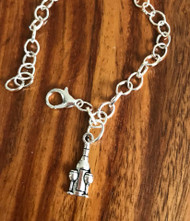 Resell for 12.00 or more 7 3:4 inch charm bracelet Pewter wine bottle and glasses Style #WBCB051718