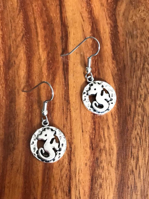 """Resell for 6.00 or more Pewter seahorse 3/4"""" Surgical steel ear wires Style #SHCE051818"""