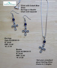 Cross with Cobalt Blue Glass earrings; bauble & chain sold separately