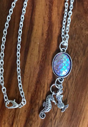 Resell for 12.00 or more 18 inch silver tone chain Mermaid scale pendant with pewter mermaid and seahorse Style #MSHN051818