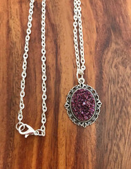 Resell for 12.00 or more 20 inch silver tone chain  Purple haze drusy resin necklace Style #PHD052518
