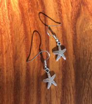 "Resell for 5.00 Pewter starfish 5/8"" Surgical steel ear wires Style #SFE052518g"
