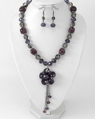 "resell for 33.00 or more Hematite Tone / Purple Ceramic & Glass Crystal / Lead&nickel Compliant / Flower Pendant Necklace & Fish Hook Earring Set /  •   LENGTH : 18"" + EXT •   EARRING : 1 1/8"" L	 •   HEMATITE/ Purple. Style #HPFNS052818"