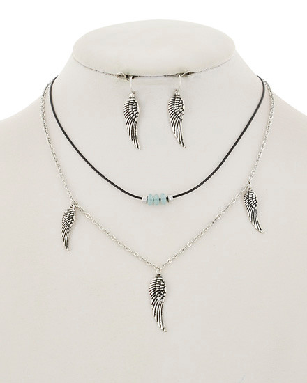 """resell for 21.00 or more Burnished Silver Tone / Black Cord / Lead&nickel Compliant / Metal / Fish Hook (earrings) / Layer / Angel Wing Charm / Necklace & Earring Set  •   LENGTH : 12"""" X EXT, 18"""" + EXT •   EARRING : 5/16"""" X 1 1/2"""" •   DROP : 4 3/4 •   SILVER/BLUE. Style #AWNS052918"""
