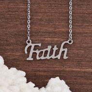 "resell for 12.00 or more 304 Stainless Steel Necklace Silver Tone Word Message "" FAITH "" 52cm(20 4/8"") long Style #FSSN053118"