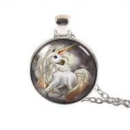 "resell for 12.00 or more Glass Necklace Silver Tone White Unicorn Round 50cm(19 5/8"") long Style #WUN053118"