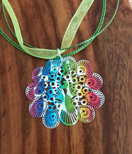 "Resell for 12.00 or more 17 inch bright green organza plus ext chain 2 "" enameled laser lace peacock multi colored pendant Style #GOPN053118"