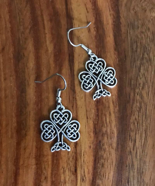 "Resell for 6.00 or more Pewter Celtic tree of life 7/8"" x 6/8"" Surgical steel ear wires Style #CTLHE053118"