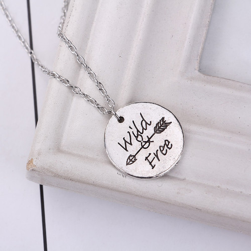 "resell for 9.00 or more Antique Silver Silver Tone Round Arrow Message "" Wild Free "" 46cm(18 1/8"") long Style #WFAN060118"