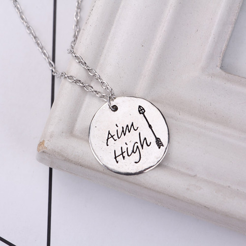 """resell for 9.00 or more Antique Silver Silver Tone Round Arrow Message """" Aim High """" 47cm(18 4/8"""") long Style #AHAN060118"""