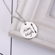 "resell for 9.00 or more Antique Silver Silver Tone Round Arrow Message "" Aim High "" 47cm(18 4/8"") long Style #AHAN060118"