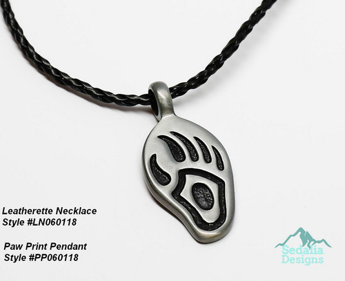 """Leatherette necklace not included Pendant, """"pewter"""" (zinc-based alloy), 45x21mm bear paw PP060118"""