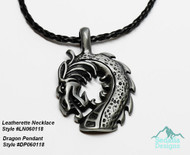 Leatherette necklace not included  DP060118  Pendant, Pewter, 51x34mm dragon head