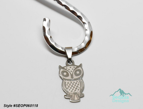 Neckwire not included Pendant, stainless steel, 26x15mm two-sided matte and shiny etched owl Style #SEOP060118