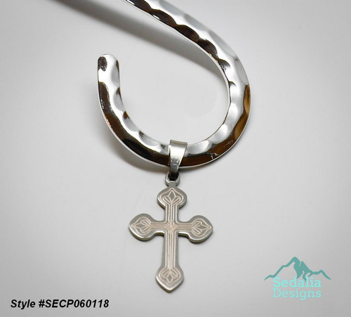 Style #SECP060118  Neckwire not included.  Pendant, stainless steel, 21x16mm two-sided matte and shiny etched cross