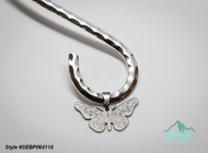 Style #SEBP060118  Neckwire not included  Pendant, stainless steel, 28x16.5mm two-sided matte and shiny etched butterfly