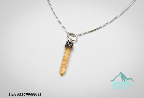 Genuine Citrine (heated) and sterling silver, 20x3mm-26x4mm hand-cut point  Chain not included  Style #SSCPP060118
