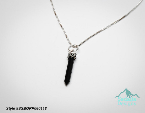 Style #SSBOPP060118  Chain not included  Genuine  black onyx (dyed) and sterling silver, 20x3mm-26x4mm hand-cut point