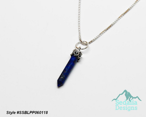 Style #SSBLPP060118  Genuine lapis lazuli (natural) and sterling silver, 20x3mm-26x4mm hand-cut point Chain not included.