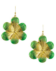 "resell for 9.00 or more Gold Tone / Green / Lead Compliant / Metal / Fish Hook / Dangle / Flower / Earring Set  •   WIDTH X LENGTH : 1 5/8"" X 2 1/2""	 •   GOLD/GREEN  Style #GGFE060618"