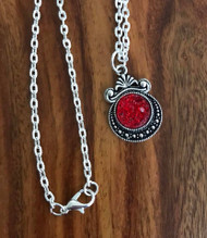 "Resell for 12.00 or more 20 inch silver tone chain Red drusy set in pewter bezel 1 1/8""x 3/4"" Style #RDN060718"