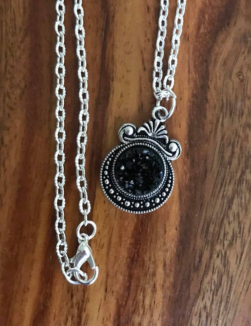 """Resell for 12.00 or more 20 inch silver tone chain Black  drusy set in pewter bezel 1 1/8""""x 3/4"""" Style #BDN060718"""