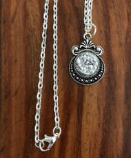 "Resell for 12.00 or more 20 inch silver tone chain Silver drusy set in pewter bezel 1 1/8""x 3/4"" Style #SDN060718"