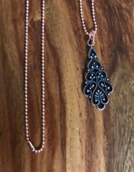 Resell for 12.00 or more 23 inch copper ball chain Copper filigree pendant 1 5/8 drop Style #CFN060718