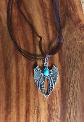 """Resell for 12.00 or more 17 inch brown organza plus ext Pewter winged cross turquoise magnesite 1 1/4""""x 7/8"""" Style #BOWCN06060718"""