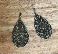 "Resell for 6.00 or more 1 7/8"" x 1 1/8"" antique bronze hollow carved flower teardrop Style #ABTFE060818"
