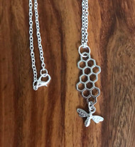 Resell for 12.00 or more 30 inch silver tone chain  Pewter honeycomb with bee