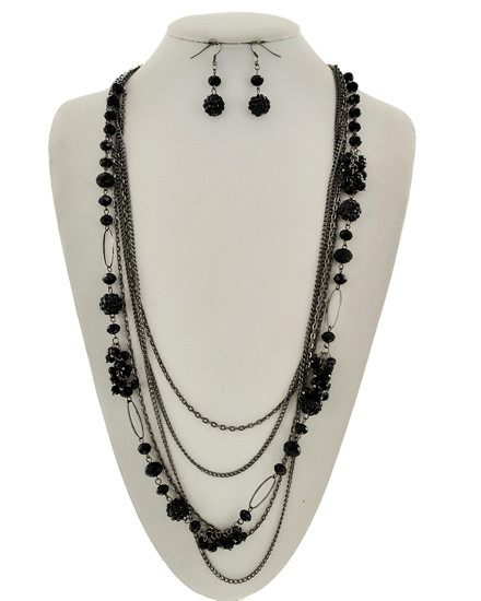 """resell for 33.00 or more Hematite Tone / Black Glass Crystal & Acrylic / Lead&nickel Compliant / Fish Hook (earrings) / Multi Row / Long Neck & Earring Set / •   LENGTH : 31"""" + EXT •   EARRING : 5/8"""" X 1 3/4"""" •   DROP : 3"""" Style #HTMSN061118"""