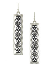 """resell for 24.00 ot more Matte Silver Tone & Hematite Tone / Metal / Fish Hook / Dangle / Earring Set  •   WIDTH X LENGTH : 1/2"""" X 2 1/4"""" •   SILVER/BLACK  Style #HSE061118"""