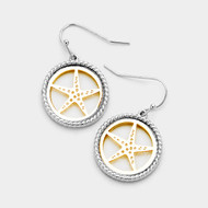 "resell for 18.00 or more • Color : Gold tone, Rhodium • Theme : Sea Life, Starfish  • Size : 0.75"" X 1.25"" • Fish Hook Back • Material : Lead and nickel compliant • Starfish Two Tone Metal Dangle Earrings Style #TTSFE061418"