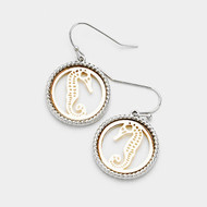 "resell for 18.00 or more • Color : Gold, Rhodium • Theme : Sea Life, Seahorse  • Size : 0.75"" X 1.25"" • Fish Hook Back • Material : Lead and nickel compliant • Seahorse Two Tone Metal Dangle Earrings Style #TTSHE061418"