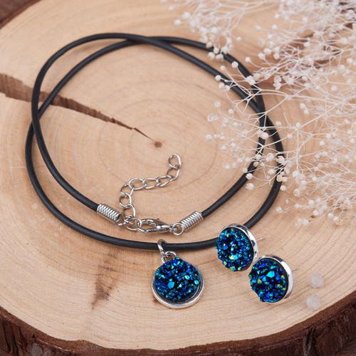 "resell for 12.00 or more Resin Druzy /Drusy Jewelry Necklace Earring Ear Stud Set Round Antique Silver Blue 48.0cm(18 7/8"") long, 16mm( 5/8"") x 14mm( 4/8"") Style #BRDNS061418"