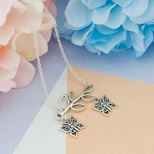 """resell for 9.00 or more Necklace Antique Silver Olive Branch Butterfly Hollow 49.5cm(19 4/8"""") long Style #BLN061418"""