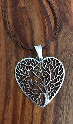"Resell for 12.00 or more Pewter tree of life heart pendant 2.5"" x 1 3/8"" Brown organza necklace 17 inch plus extender chain Style #TLHN061518"