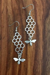"Resell for 9.00 or more Pewter honeycomb bee earrings 1 3/4"" x 5/8"" Surgical steel earwires Style #HBE061518"