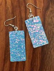 "Resell for 15.00 or more Blue pink pailette leatherette earrings 41mm(1 5/8"") x 21mm( 7/8"") Surgical steel earwires Style #BPPE061518"