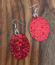 "Resell for 15.00 or more Red pailette leatherette earrings 41mm 1 5/8 x 31mm 1 2/8"" Surgical steel earwires Style #RPE061518"