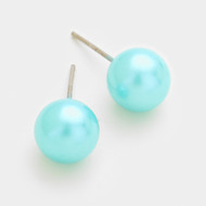 resell for 12.00 or more • Color : Rhodium, Blue • Theme : Pearl  • Size : 1 cm • Pearl stud earrings Style #LTPE061518