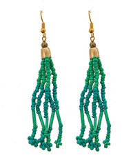 "resell for 12.00 or more Gold Tone / Green Acrylic Seed Beads / Lead Compliant / Fish Hook / Dangle / Earring Set /  •   WIDTH X LENGTH : 5/8"" X 3 1/4""	 •   GOLD/L.BLUE  Style #BGTE061818"