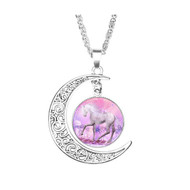 "resell for 15.00 or more Necklace Unicorn Antique Silver Pink Moon 51cm(20 1/8"") long,  Style #PUN061918"