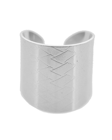 """resell for 15.00 or more Silver Tone / Lead&nickel Compliant / Metal / Cuff Ring  •   SIZE FREE : CUFF RING •   WIDTH : 3/4""""  •   Silver. Style #CR062018"""